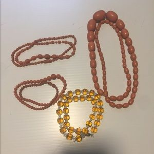 Vintage glass and plastic bead necklaces lot of 4